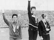 <p>British runner Ann Packer (center) wins gold for the 800 Meters event. Maryvonne Dupureur (left) wins silver for France and Marise Chamberlain from New Zealand earns the bronze. </p>