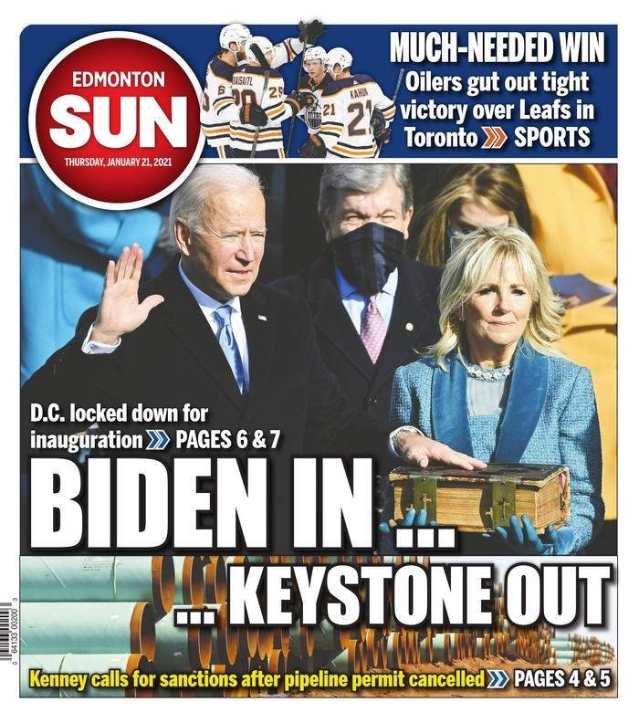 January 21, 2021 front page of the Edmonton Sun