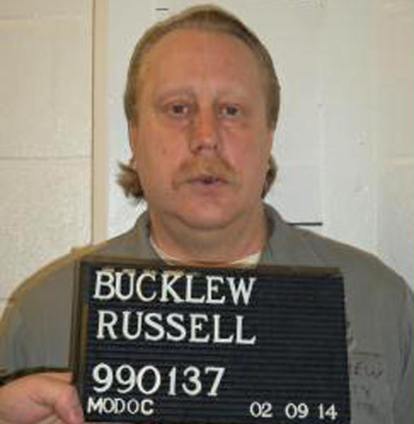 """FILE - This undated file photo provided by the Missouri Department of Corrections shows Russell Bucklew. Bucklew is scheduled to die by injection Oct. 1, 2019 for killing a southeast Missouri man during a violent crime rampage in 1996. Bucklew suffers from a rare medical condition that causes blood-filled tumors in his head, neck and throat, and he had a tracheostomy tube inserted in 2018. His attorneys say he faces the risk of a """"grotesque execution process."""" Missouri Gov. Mike Parson, who is considering clemency in the execution for tomorrow. (Missouri Department of Corrections via AP File)"""