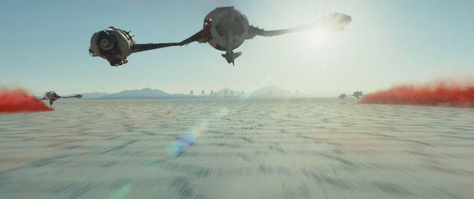 """<p>One of the film's major battle sequences will take place on <a rel=""""nofollow"""" href=""""https://www.yahoo.com/movies/star-wars-last-jedi-rian-johnson-explains-weird-new-planet-trailer-204549320.html"""" data-ylk=""""slk:a remote mineral planet called Crait;outcm:mb_qualified_link;_E:mb_qualified_link;ct:story;"""" class=""""link rapid-noclick-resp yahoo-link"""">a remote mineral planet called Crait</a>, Johnson told Yahoo Movies. In stills from the trailers, land speeders are shown kicking up clouds of red dust from beneath the planet's salt surface.<br>(Credit: Lucasfilm) </p>"""