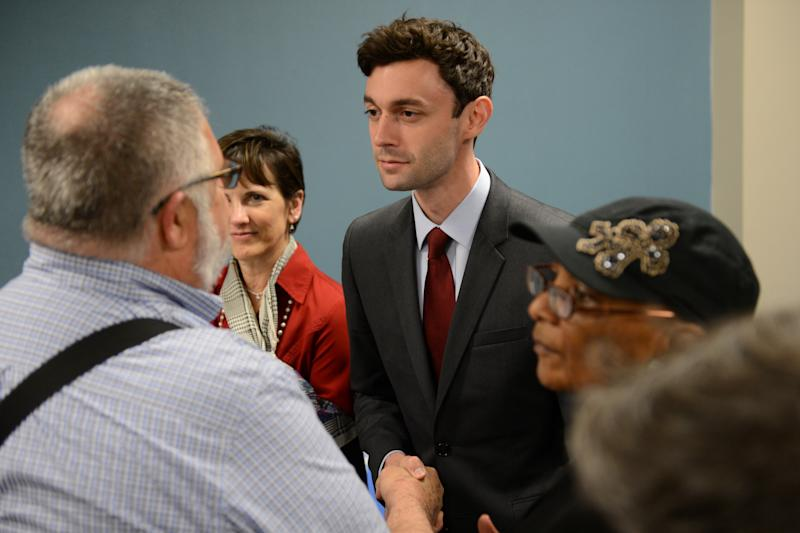 Democratic candidate Jon Ossoff greets supporters after during the League of Women Voters' candidate forum for Georgia's 6th Congressional District special election to replace Tom Price, who is now the secretary of Health and Human Services, in Marietta, Georgia, U.S. April 3, 2017. Picture taken April 3, 2017.  REUTERS/Bita Honarvar
