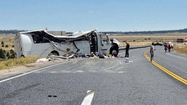 PHOTO: People work at the scene where a tour bus crashed near Bryce Canyon National Park on SR-12 in Utah, Sept. 20, 2019. (Utah Highway Patrol)