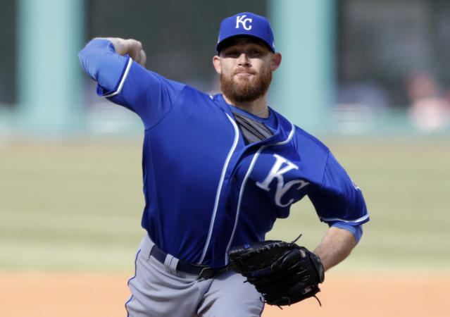 Kansas City Royals starting pitcher Ian Kennedy delivers in the first inning of a baseball game against the Cleveland Indians, Saturday, April 7, 2018, in Cleveland. (AP Photo/Tony Dejak)