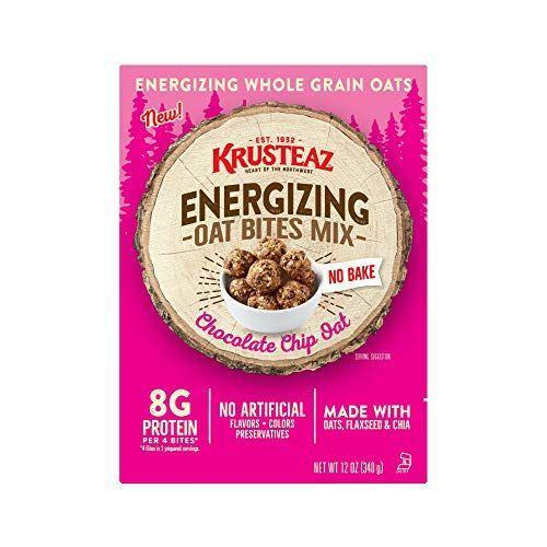 """<p><strong>Krusteaz</strong></p><p>amazon.com</p><p><strong>$23.68</strong></p><p><a href=""""https://www.amazon.com/dp/B0855B6NV1?tag=syn-yahoo-20&ascsubtag=%5Bartid%7C10055.g.33456644%5Bsrc%7Cyahoo-us"""" rel=""""nofollow noopener"""" target=""""_blank"""" data-ylk=""""slk:Shop Now"""" class=""""link rapid-noclick-resp"""">Shop Now</a></p><p>We love this new oat bites mix from Krusteaz that is <strong>made with simple wholesome ingredients like oats, chia seeds, and ground flax seeds.</strong> Just add nut butter, honey and water and roll these into a ball and pop them in the fridge (they are no-bake!). </p><p><strong><em>Per 2 bites serving, as prepared with nut butter, honey and water: 160 cal, 9g fat, 0mg sodium, 16g carb, 4g fiber, 6g added sugar, 4g protein</em></strong></p>"""