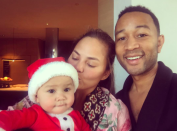 """<p>John Legend wished his followers a Merry Christmas with a sweet selfie of him with wife Chrissy Teigen and their baby girl, Luna. (Photo: <a rel=""""nofollow noopener"""" href=""""https://www.instagram.com/p/BOcrfaVgSR2/"""" target=""""_blank"""" data-ylk=""""slk:Instagram"""" class=""""link rapid-noclick-resp"""">Instagram</a>) </p>"""