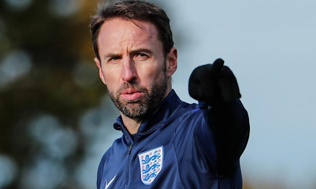England's manager Gareth Southgate gets his message across during Monday's training session at Tottenham's training ground.