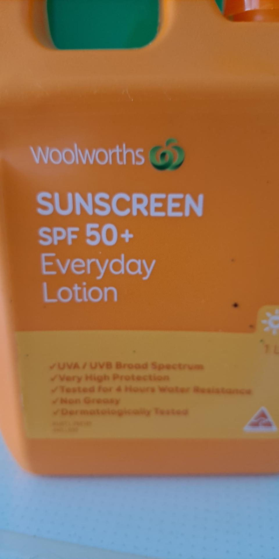 The sunscreen was supposedly water resistant for four hours. Source: Supplied