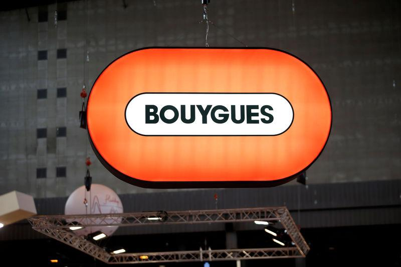 FILE PHOTO: A Bouygues company logo is seen at the World Efficiency congress in Pari