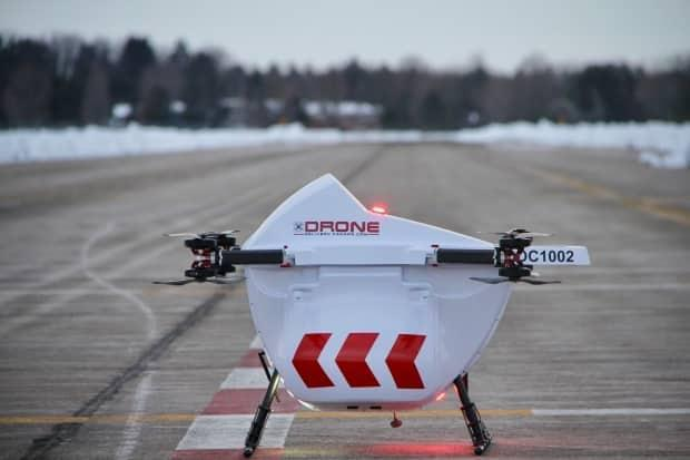 The Sparrow drone that will be used by Drone Delivery Canada to fly packages from Edmonton International Airport to Nisku, Alta.  (Submitted by Drone Delivery Canada - image credit)