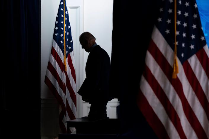 President Joe Biden walks off after speaking about COVID-19 vaccinations at the White House on April 21, 2021, in Washington.