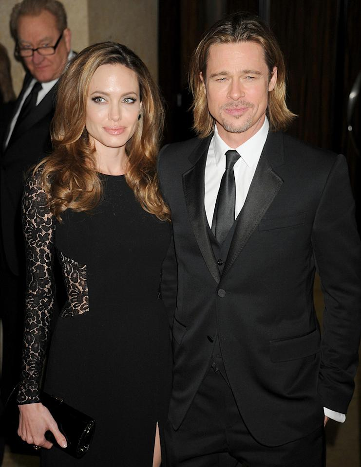 Angelina Jolie and Brad Pitt arrive at 23rd Annual Producers Guild  Awards at The Beverly Hilton Hotel on January 21, 2012 in Beverly Hills,  California.