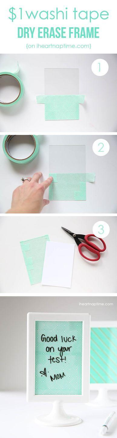 """<p>Perch this adorable (and affordable!) dry erase board on your kid's desk or in her locker for to-do lists, love notes, and more. Choose a pattern of washi tape that matches their desk décor</p><p><em><a href=""""https://www.iheartnaptime.net/washi-tape-crafts/"""" rel=""""nofollow noopener"""" target=""""_blank"""" data-ylk=""""slk:Get the tutorial at I Heart Naptime »"""" class=""""link rapid-noclick-resp"""">Get the tutorial at I Heart Naptime »</a></em> </p>"""