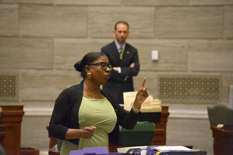 During debate in the Missouri Senate in Jefferson City Wednesday, May 15, 2019, Freshman senator, Karla May, D-St. Louis, makes a point regarding Missouri's proposed new abortion law. Opponents of the bill have begun efforts to block it in that legislative body. The bill would prohibit an abortion after the unborn baby's heartbeat is detected. (Sally Ince/The Jefferson City News-Tribune via AP)