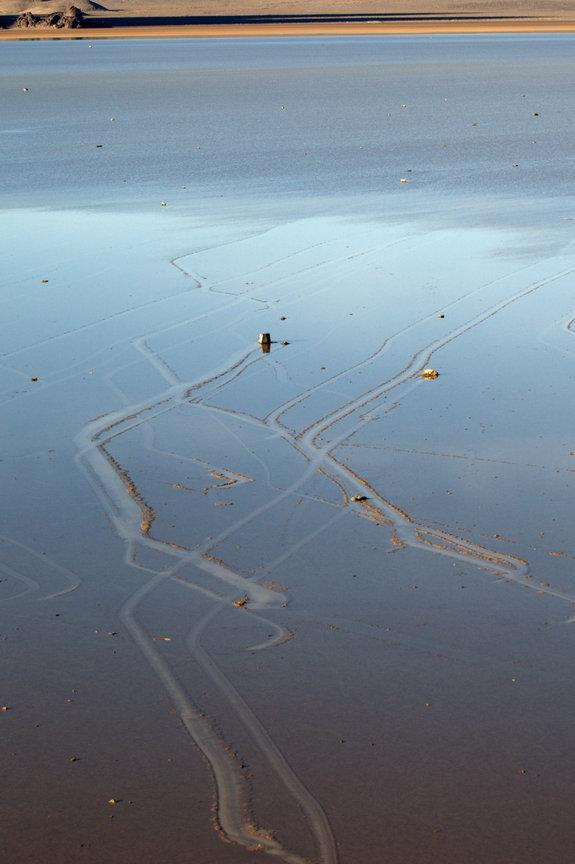 Researchers saw rocks sail across Racetrack Playa and set fresh trails, shown here.
