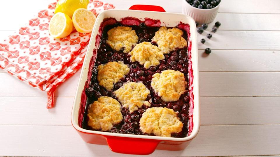 "<p>Biscuit topping or BUST.</p><p>Get the recipe from <a href=""https://www.delish.com/cooking/recipe-ideas/a27479215/easy-blueberry-cobbler-recipe/"" rel=""nofollow noopener"" target=""_blank"" data-ylk=""slk:Delish"" class=""link rapid-noclick-resp"">Delish</a>.</p>"