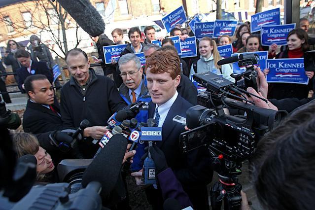 Joe Kennedy III officially launches his campaign for Congress on Thursday in Newton, Mass. (Photo: Suzanne Kreiter/Boston Globe via Getty Images)