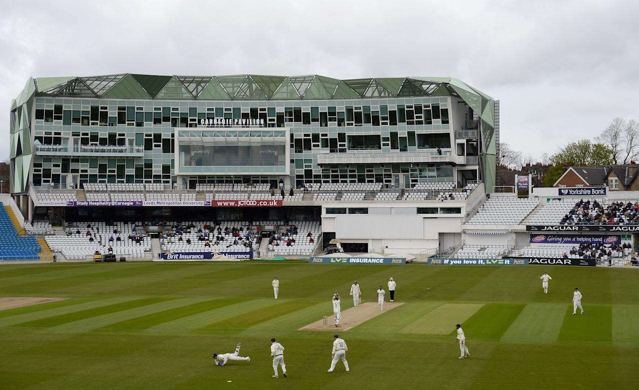 LEEDS, ENGLAND - APRIL 06:  A general view of play during day 2 of the LV County Championship Division Two match between Yorkshire and Kent at Headingley Stadium on April 6, 2012 in Leeds, England.  (Photo by Gareth Copley/Getty Images)