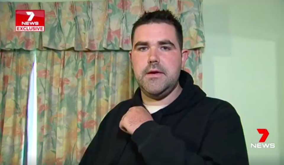 Damien Bently said he woke in the middle of the night with knives held to his throat by the same man who took his car for a test drive earlier that night. Source: 7 News