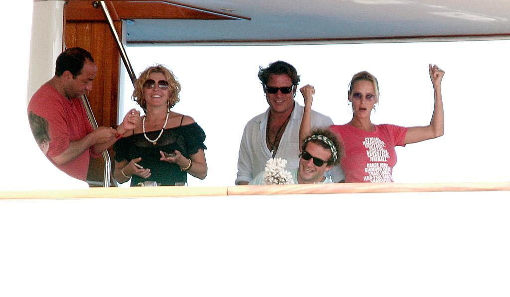 """Uma Thurman gets silly while cruising to remote Panarea, part of the Aeolian Islands off of Sicily. Ciao Pix/<a href=""""http://www.infdaily.com"""" target=""""new"""">INFDaily.com</a> - August 17, 2008"""