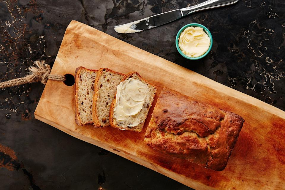 """This fun dessert magically turns store-bought ice cream into bread with a little help from self-rising flour. The butter pecan ice cream does double duty, adding caramelly sweetness and nutty crunch. <a href=""""https://www.epicurious.com/recipes/food/views/banana-pecan-ice-cream-bread?mbid=synd_yahoo_rss"""" rel=""""nofollow noopener"""" target=""""_blank"""" data-ylk=""""slk:See recipe."""" class=""""link rapid-noclick-resp"""">See recipe.</a>"""