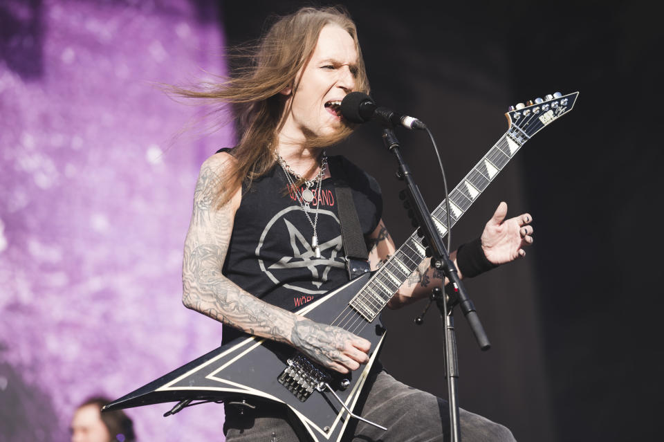 MADRID, SPAIN - JUNE 28: Alexi Laiho of Children of Bodom performs on stage during day 1 of Download festival 2019 at La Caja Magica on June 28, 2019 in Madrid, Spain. (Photo by Mariano Regidor/Redferns)