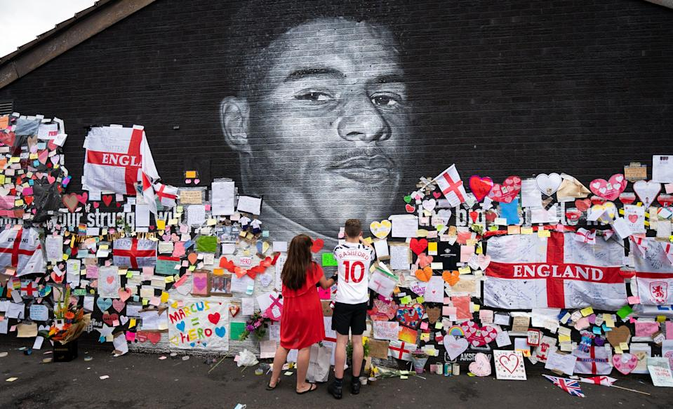 A mural of Manchester United striker and England player Marcus Rashford in Withington (Danny Lawson/PA) (PA Wire)