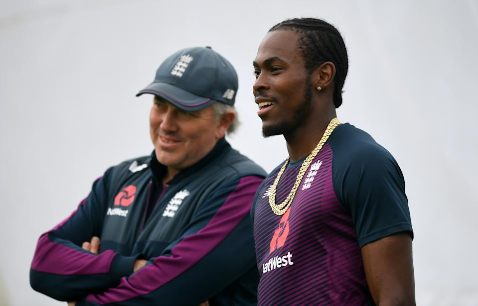 Jofra Archer shares a laugh with England Head Coach Chris Silverwood.