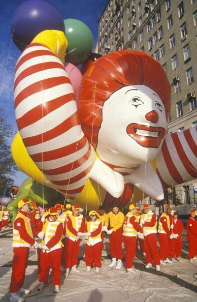 <p>Say hello to the first-ever Ronald McDonald balloon in the Macy's Thanksgiving Day Parade—which was accompanied by the McDonald's All-American Marching band. This guy was retired after the 1994 parade. The current McDonald's balloon features Ronald wearing a red coat, yellow pants, and red shoes.</p>