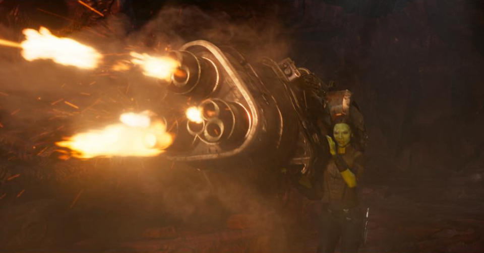 <p>But this time around, Gamora is packing major firepower. (Photo: Marvel) </p>
