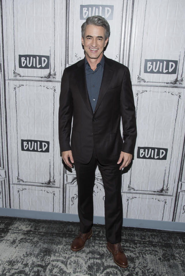 "Dermot Mulroney participates in the BUILD Speaker Series to discuss the Hallmark Hall of Fame movie ""The Christmas Train"" at AOL Studios on Tuesday, Nov. 14, 2017, in New York. (Photo by Charles Sykes/Invision/AP)"