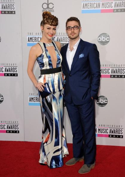 Karmin arrives on the 2012 American Music Awards red carpet.