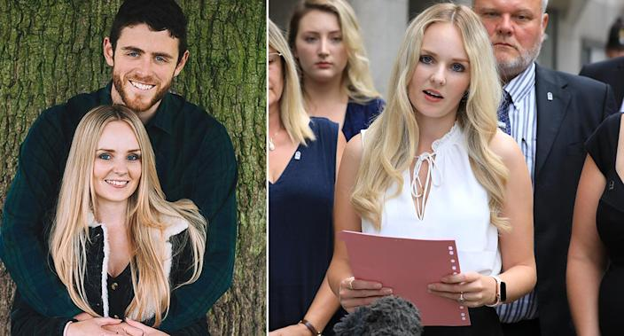 PC Andrew Harper, above left, and his widow Lissie, who has spoken of her grief on their wedding anniversary. (PA Images)
