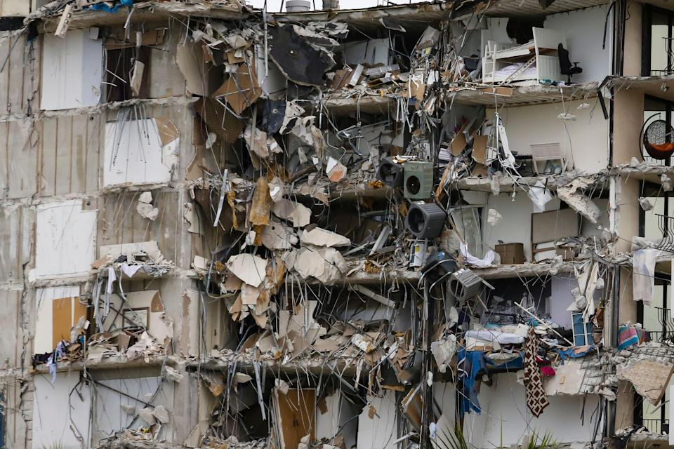 The carnage after the Miami Surfside building collapsed. (AFP via Getty Images)
