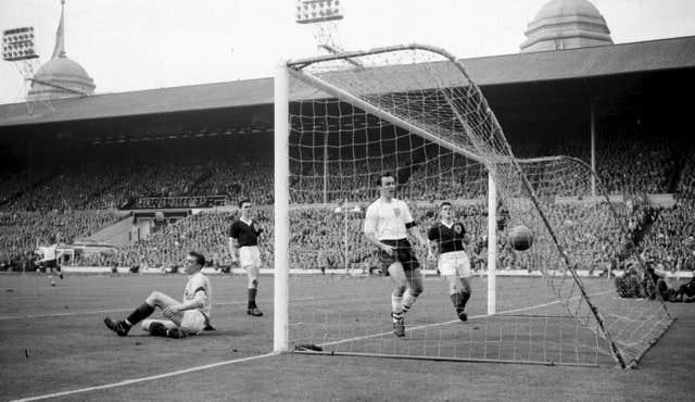 Jimmy Greaves scoring England in April 1961