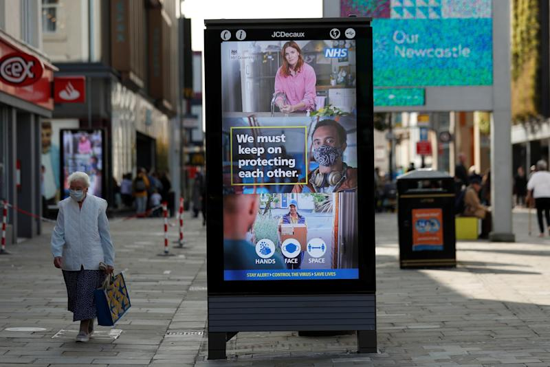 A sign of precautionary health and safety measures is seen on Northumberland Street, amid the coronavirus outbreak in Newcastle. (Photo: Lee Smith / reuters)