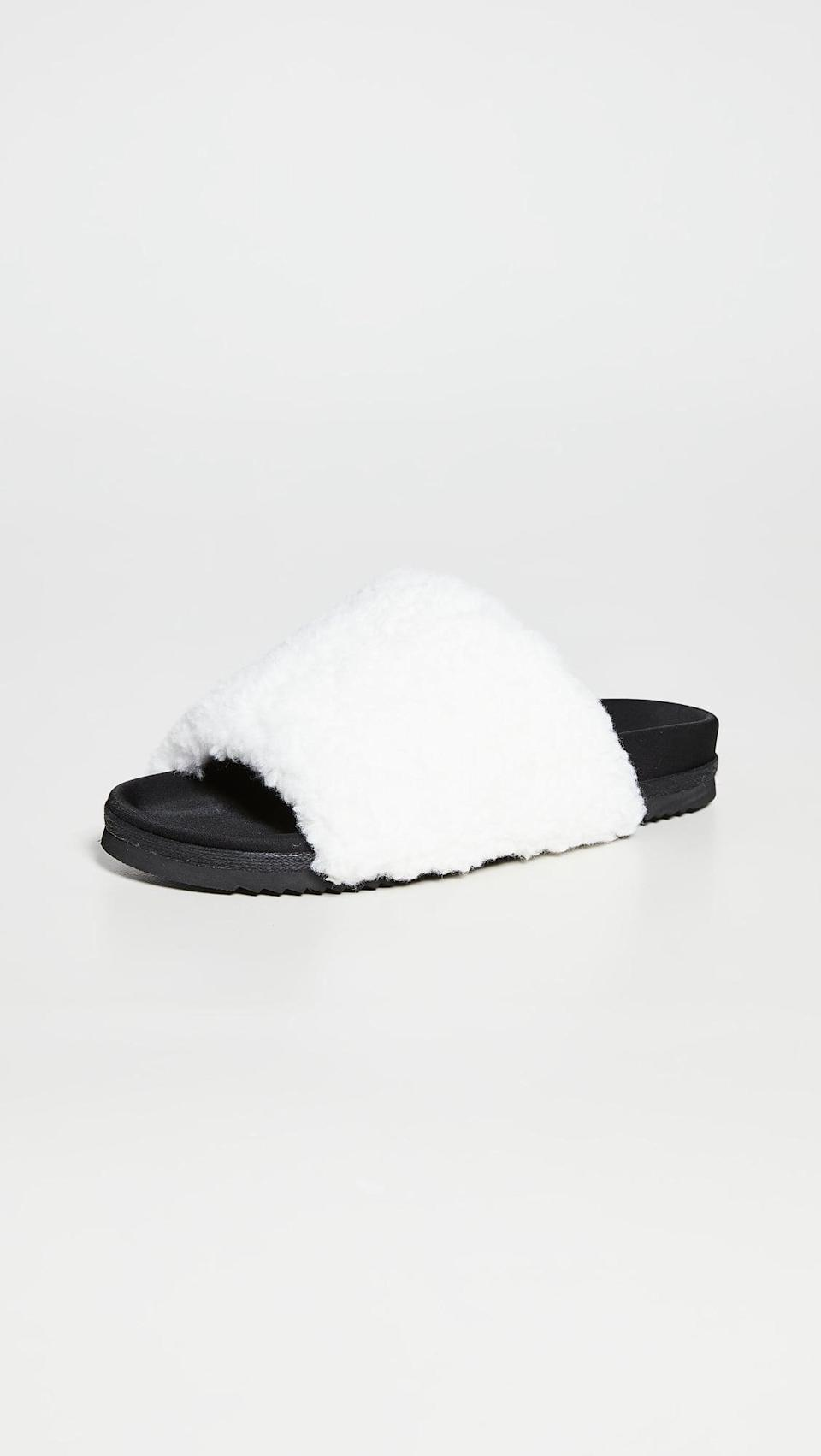<p>Consider these <span>Roam Fuzzy Slides</span> ($121) your elevated pool slides but cozier, thanks to plush Sherpa straps and a super-soft molded footbed.</p>