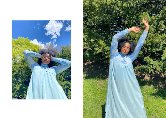 """<div class=""""caption""""> """"Most days, it's still been quite chilly here, so for my time outside I've been swaddling myself in knits, flowy floral dresses and I just adore the square neckline and I'm a sucker for a puffed sleeve."""" </div>"""