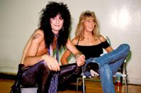 <p>Lee backstage with actress wife, Heather Locklear, in Los Angeles. The pair were married from 1986 to 1993.</p>