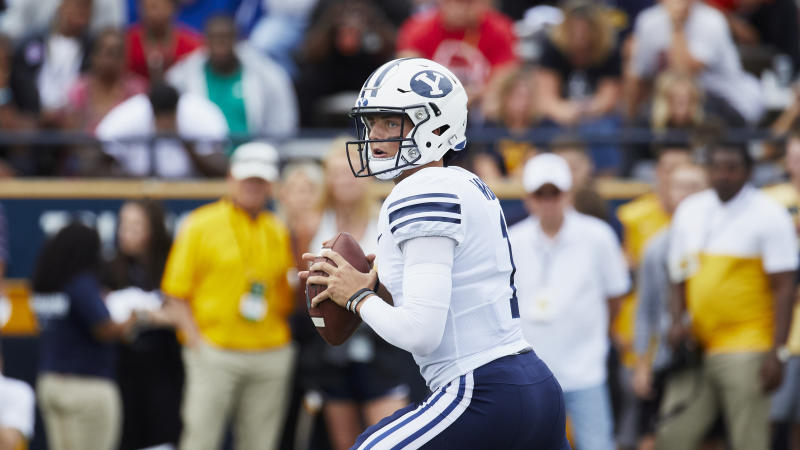 Brigham Young quarterback Zach Wilson (1) in action against the Toledo during an NCAA football game on Saturday, Sept. 28, 2019 in Toledo, Ohio. (AP Photo/Rick Osentoski)