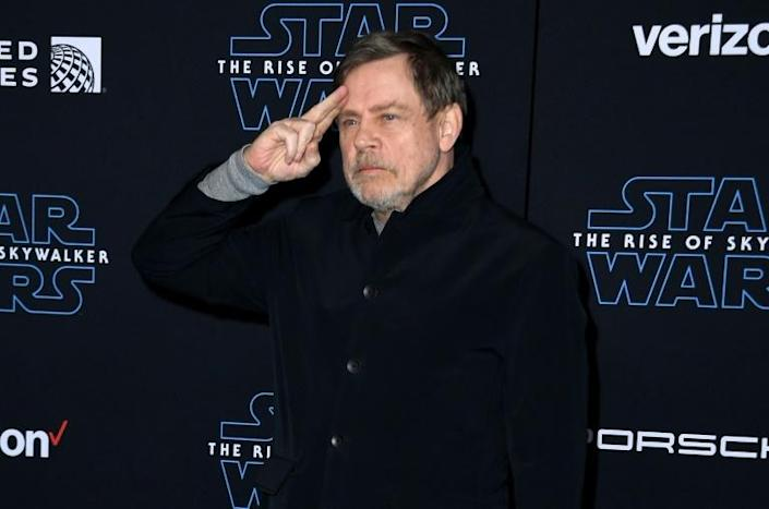 Mark Hamill bid farewell to the franchise that launched his career in style at a futuristic hanger filled with life-size X-Wing fighters in Los Angeles (AFP Photo/VALERIE MACON)