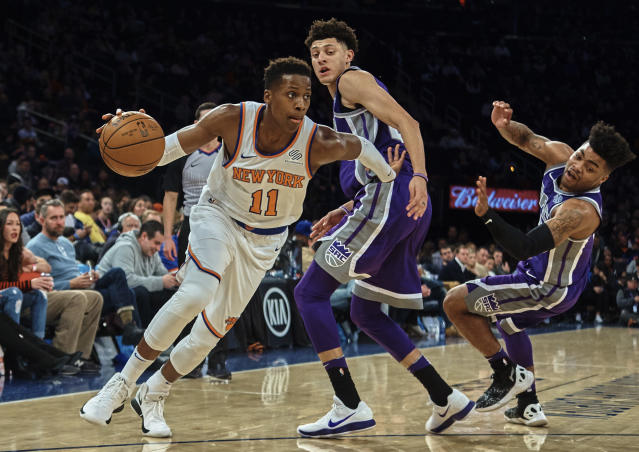 "<a class=""link rapid-noclick-resp"" href=""/nba/teams/nyk/"" data-ylk=""slk:New York Knicks"">New York Knicks</a> guard Frank Ntilikina can help in both assists and steals. (AP Photo/Andres Kudacki)"