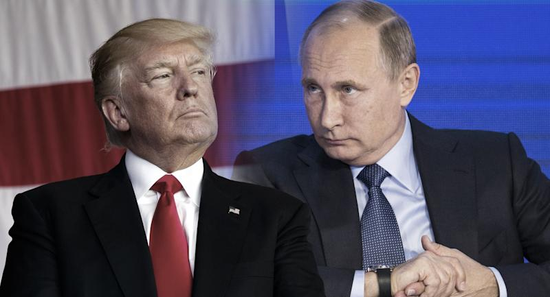 President Donald Trump and russian President Vladimir Putin. (Photo illustration: Yahoo News; photos: Evan Vucci/AP, Alexander Zemlianichenko, pool/AP)