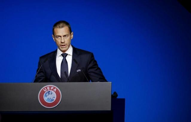 UEFA president Aleksander Ceferin remains hopeful this season can be completed eventually (AFP Photo/Robin VAN LONKHUIJSEN)