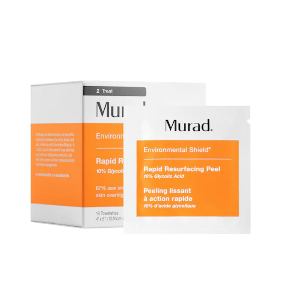 """This handy-dandy peel comes in individual packets, so you can exfoliate and brighten on the go. The 10% glycolic acid gently buffs away dead skin, while an infusion of skin-brightening <a href=""""https://www.allure.com/gallery/get-brighter-skin-vitamin-c?mbid=synd_yahoo_rss"""" rel=""""nofollow noopener"""" target=""""_blank"""" data-ylk=""""slk:vitamin C"""" class=""""link rapid-noclick-resp"""">vitamin C</a> works to intensify the glow. Plus, the cloths are textured, making them excellent for adding a touch of gentle physical exfoliation to boot."""