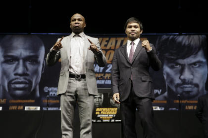 Floyd Mayweather Jr., left, and Manny Pacquiao will fight in Las Vegas on May 2. (AP)