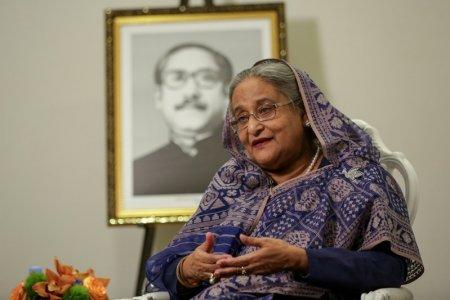FILE PHOTO: Bangladeshi Prime Minister, Sheikh Hasina speaks during an interview at Grand Hyatt Hotel in Manhattan, New York, U.S. September 25, 2018. REUTERS/Amr Alfiky/File Photo