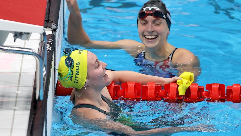 Ariarne Titmus and Katie Ledecky, pictured here after the 400m freestyle final.