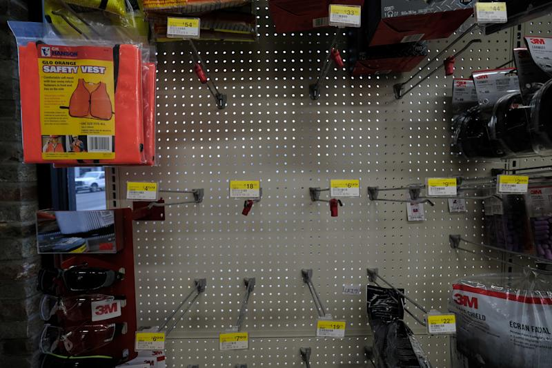 All masks sold out at this Ace Hardware in Portland, Ore., on March 2, 2020. There are currently three presumptive cases of the novel coronavirus (COVID-19) in the state, and people have been buying up supplies across the city. (Photo by Alex Milan Tracy/Sipa USA)