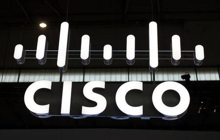 The logo of Cisco is seen at Mobile World Congress in Barcelona