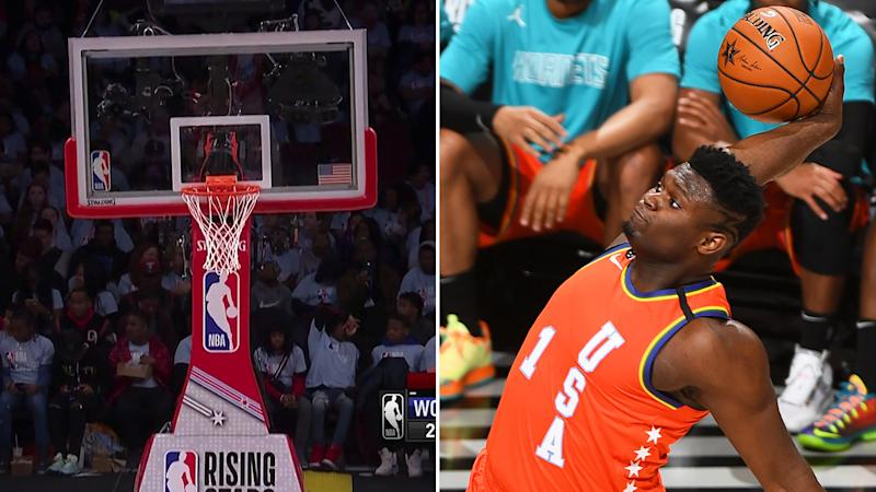 New Orleans Pelicans rookie Zion Williamson dunked so hard during the Rising Stars Game that the rim was bent out of shape. Pictures: TNT/Getty Images